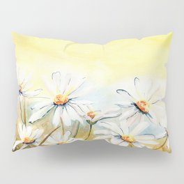 Daisies Watercolor Pillow Sham