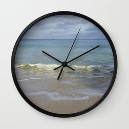 Turquoise Winter Waves and Sky Wall Clock