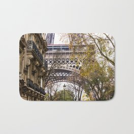 Eiffel Tower in Between Buildings Bath Mat