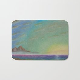 Colorful sea with montain Bath Mat
