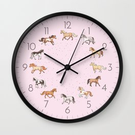 Scattered Horses spotty on cherry blossom light pink pattern Wall Clock