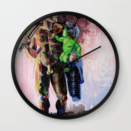 Hermaphrodite with a child Wall Clock