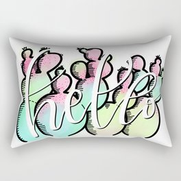 Neon Cactus - Hello Rectangular Pillow
