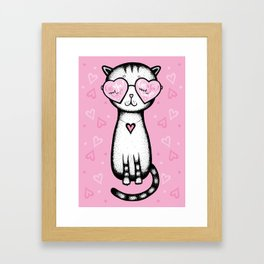 All you need is love - cat glasses heart on a pink background - Valentine's Day Framed Art Print