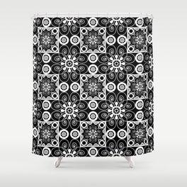 Retro .Vintage . Black and white openwork ornament . Shower Curtain