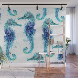 Blue Turquoise Watercolor Seahorse Wall Mural