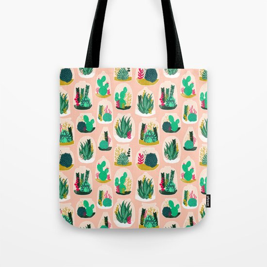 Terrariums - Cute little planters for succulents in repeat pattern by Andrea Lauren Tote Bag