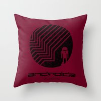 android Throw Pillows featuring Android by Slippytee Clothing
