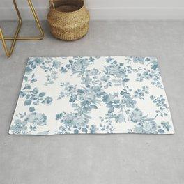 Vintage blue white bohemian elegant floral Rug