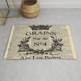 dictionary print rustic shabby french country wheat wreath Rug