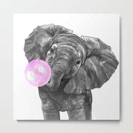 Bubble Gum Elephant Black and White Metal Print