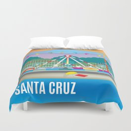 Santa Cruz, California - Skyline Illustration by Loose Petals Duvet Cover