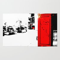 telephone Area & Throw Rugs featuring telephone box by Lued