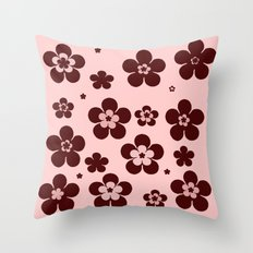 Pink with brown flowers Throw Pillow
