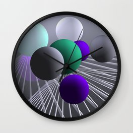 converging lines and balls -1- Wall Clock