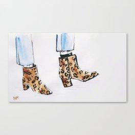 Leopard Boots Canvas Print
