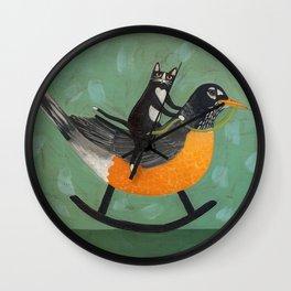 Cat on a Rocking Robin Wall Clock
