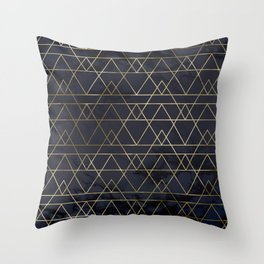 Modern Deco Gold and Marble Geometric Mountains on Navy Blue Throw Pillow
