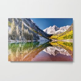 OLena Art Maroon Bells And Maroon Lake Near Aspen Colordo Metal Print