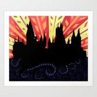 hogwarts Art Prints featuring Hogwarts by Samantha Mask