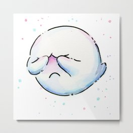 Boo Ghost Mario Watercolor Metal Print