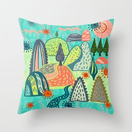 Happy Hills. Throw Pillow