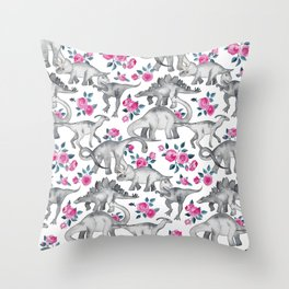 Dinosaurs and Roses - white Throw Pillow