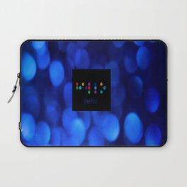 Blue,hello, braille, text, blue, glitter, art, abstract, bokeh, close up Laptop Sleeve