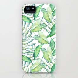 Tropical Green Leafs Pattern iPhone Case