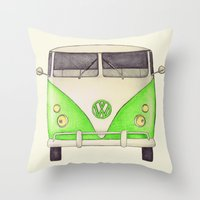 volkswagon Throw Pillows featuring VW Type 2 by One Curious Chip