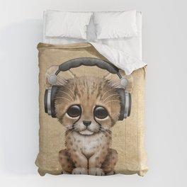 Cute Cheetah Cub Dj Wearing Headphones Comforters