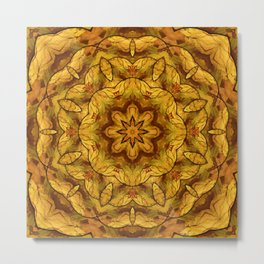 Golden autumn leaves kaleidoscope Metal Print