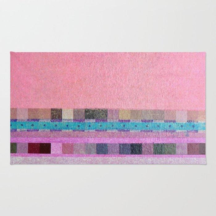 Square Dance Pink Rug
