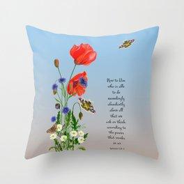Now to Him Who Is Able to do Exceedingly Abundantly Ephesians 3  Nature Watercolour Throw Pillow