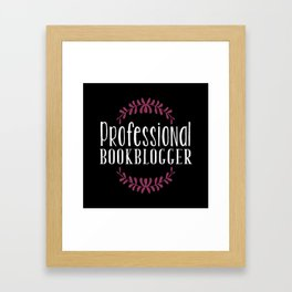 Professional Bookblogger - Black w Purple Framed Art Print