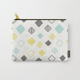 Aqua gray yellow abstract geometrical diamond pattern Carry-All Pouch