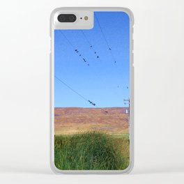Birds on telephone wires by a country road Clear iPhone Case
