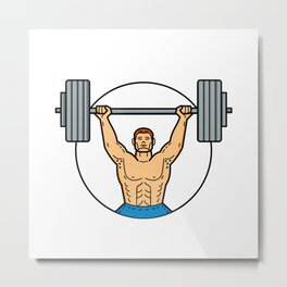 Weightlifter Lifting Barbell Mono Line Art Metal Print