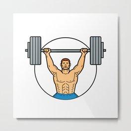 Weightlifter Lifting Barbell Mono Line Art Metal Print