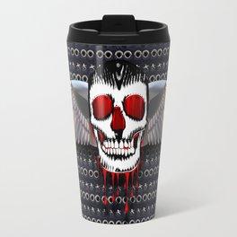 Skull with chromed wings on leather illustration Travel Mug