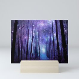 Fantasy Forest Path Icy Violet Blue Mini Art Print
