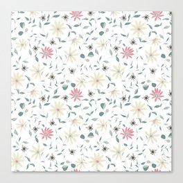 Floral Bee Print Canvas Print