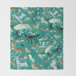 Wolves of the World Green pattern Throw Blanket