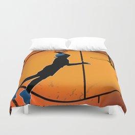 Basketball Player Silhouette Duvet Cover