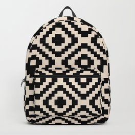Black and Cream Square Diamonds Backpack