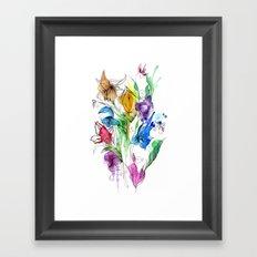 40's style flowers Framed Art Print
