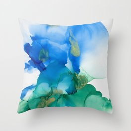 Alcohol Ink Blues and Green Abstract Art Throw Pillow