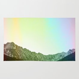 Rainbow Ridge Snow Capped Mountain Range \\ Colorado Landscape Photography \\ B&W Ski Season Art Rug