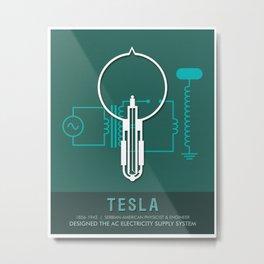 Science Posters - Nikola Tesla - Physicist, Engineer Metal Print