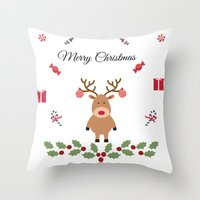 merry christmas Throw Pillows featuring Merry Christmas by haroulita